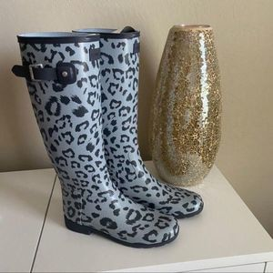 Hunter Refined Leopard Hybrid Rain Boot Size 7